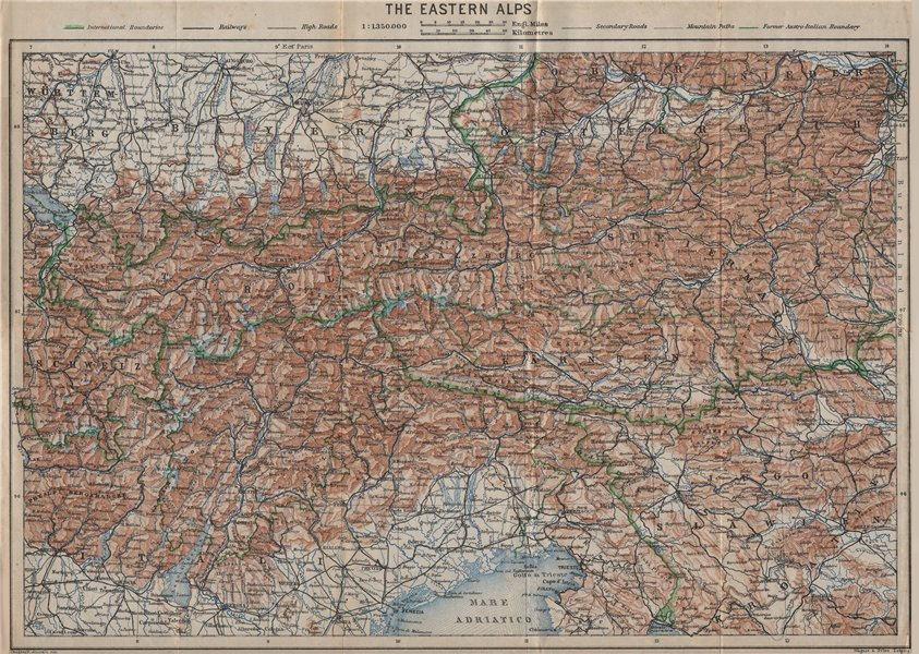 Associate Product EASTERN ALPS. OSTALPEN topo-map. Austria Österreich Italy Tirol Tyrol 1927