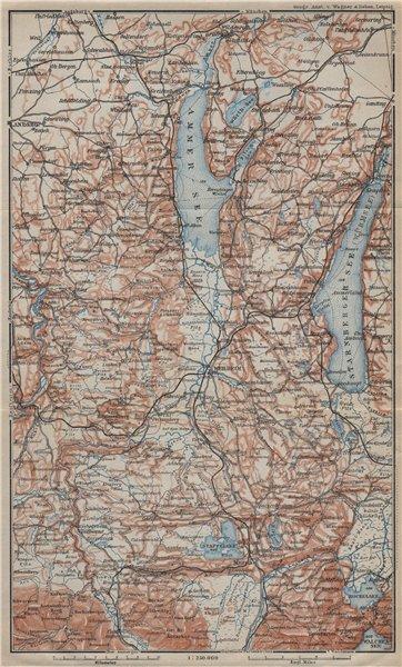 Associate Product STARNBERGERSEE & AMMERSEE. Weilheim Schongau Murnau Starnberg karte 1927 map