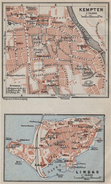 Associate Product KEMPTEN & LINDAU town city plans. Bayern Bavaria Deutschland. SMALL 1927 map