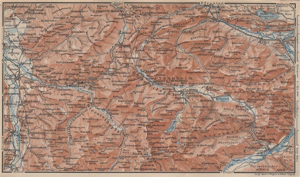 Associate Product NORTH ALLGÄU &  TANNHEIM ALPS. Hindelang Sonthofen Pfronten Tannheim 1927 map