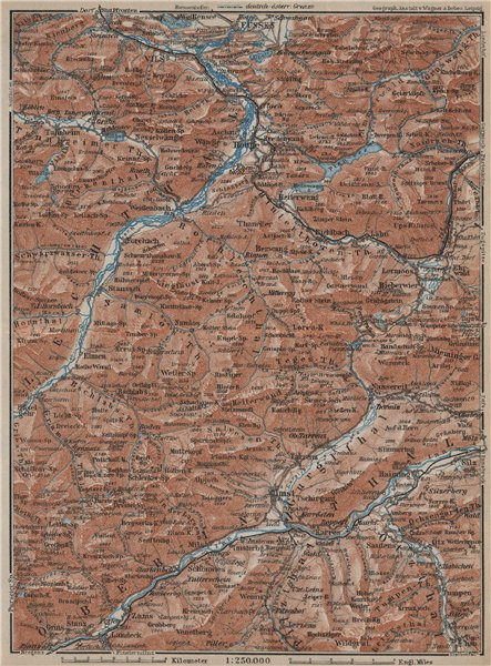 Associate Product Ammergauer & Lechtaler Alpen. Oberinntal. Fussen Imst Reutte. Tirol 1927 map
