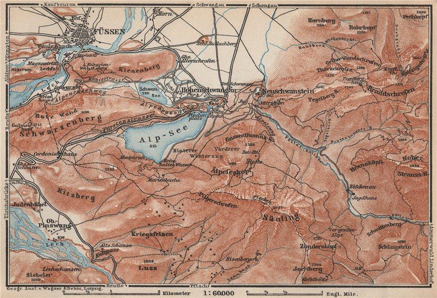 Associate Product HOHENSCHWANGAU  & FÜSSEN environs. Alpsee Deutschland Österreich karte 1927 map