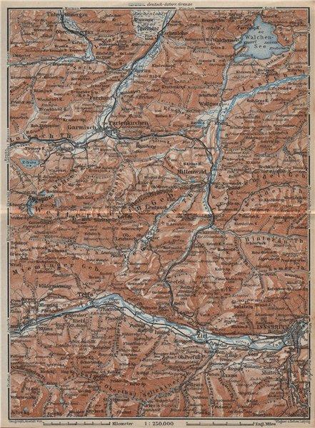 Associate Product WETTERSTEIN Garmisch-Partenkirchen Innsbruck Inntal Mittenwald Oberau 1927 map