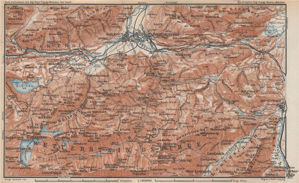 Associate Product GARMISCH-PARTENKIRCHEN environs. Mittenwald. Deutschland/Österreich 1927 map