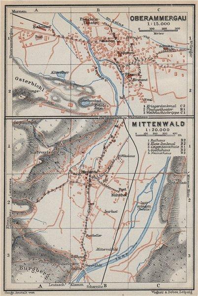 Associate Product OBERAMMERGAU & MITTENWALD town city plans. Bayern Bavaria Deutschland 1927 map