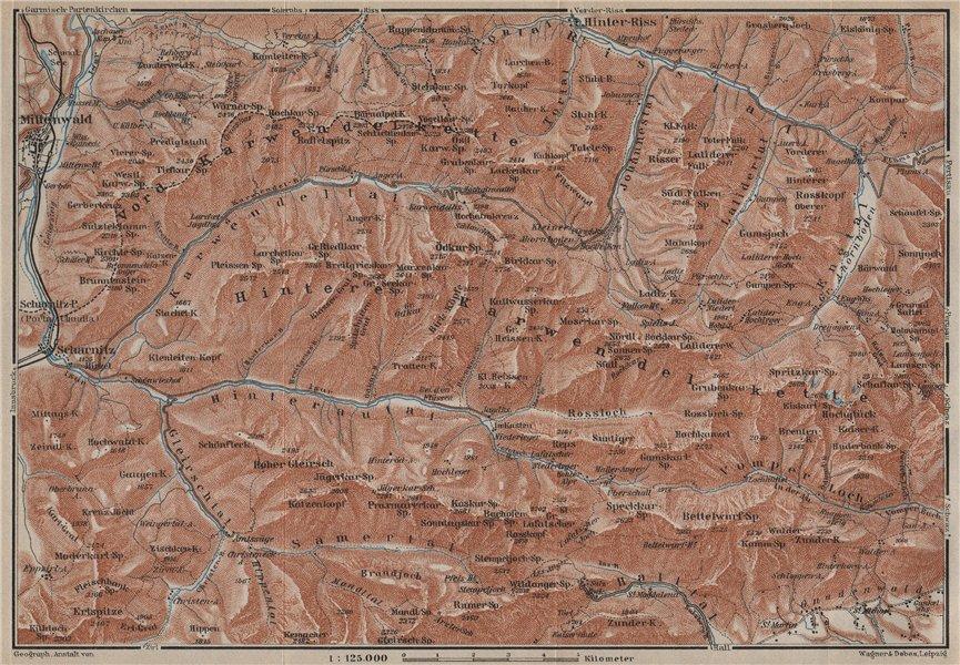 Associate Product KARWENDEL MOUNTAINS. Mittenwald Scharnitz Birkkarspitze Tirol Tyrol 1927 map
