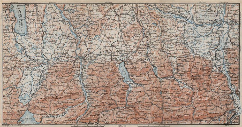 Associate Product BAYERISCHE ALPEN. Bavarian Alps. Lenggries Spitzingsee Bayrischzell 1927 map