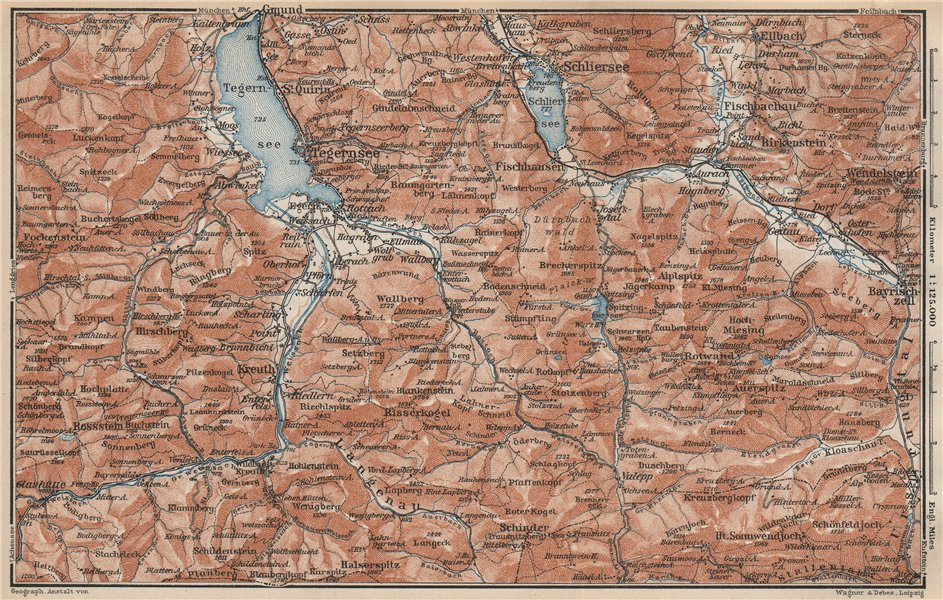 Associate Product MIESBACH DISTRICT. Tegernsee Schliersee Kreuth Bayrischzell Rottach 1927 map