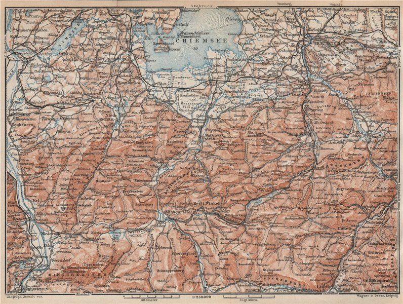 Associate Product CHIEMSEE, CHIEMGAU & environs. Kufstein Traunstein Lofer Kössen karte 1927 map