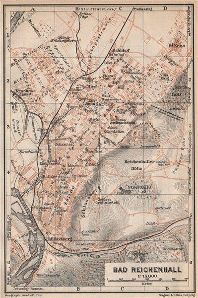 Associate Product BAD REICHENHALL town city plan. Oberbayern Bavaria Germany Deutschland 1927 map