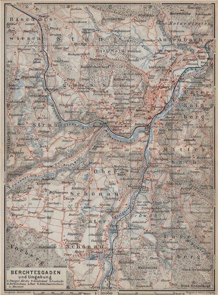 Associate Product BERCHTESGADEN und umgebung/environs. Oberbayern Germany Deutschland 1927 map