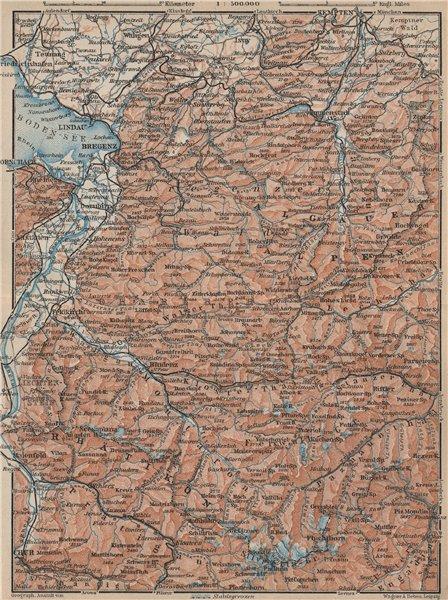 Associate Product VORARLBERG & BREGENZER WALD. Bludenz St Anton Zürs Lech See Ischgl 1927 map