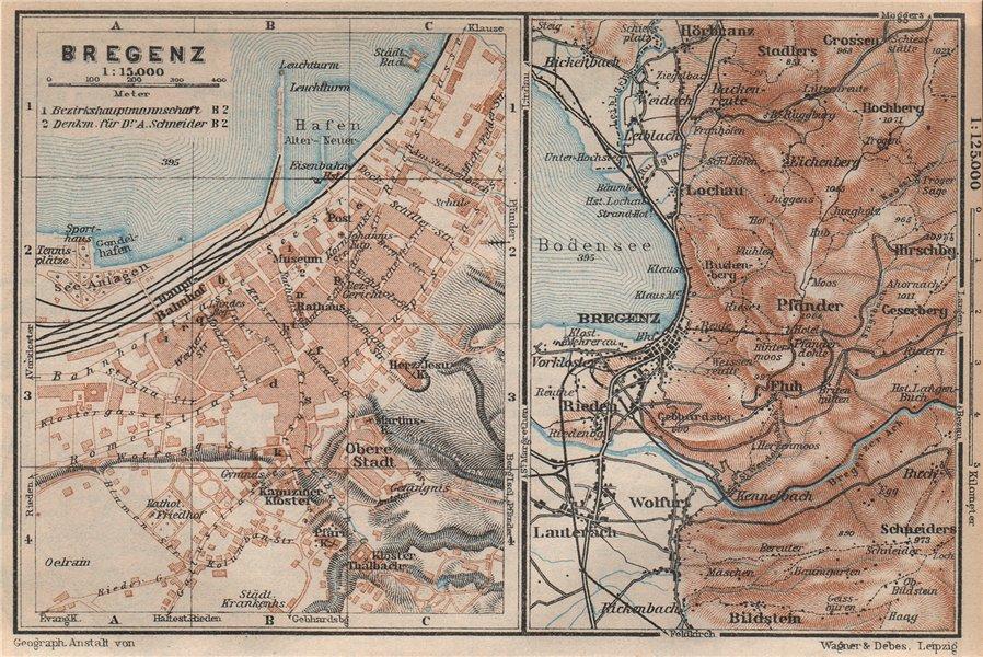 Associate Product BREGENZ town city stadtplan and environs. Österreich Austria karte 1927 map