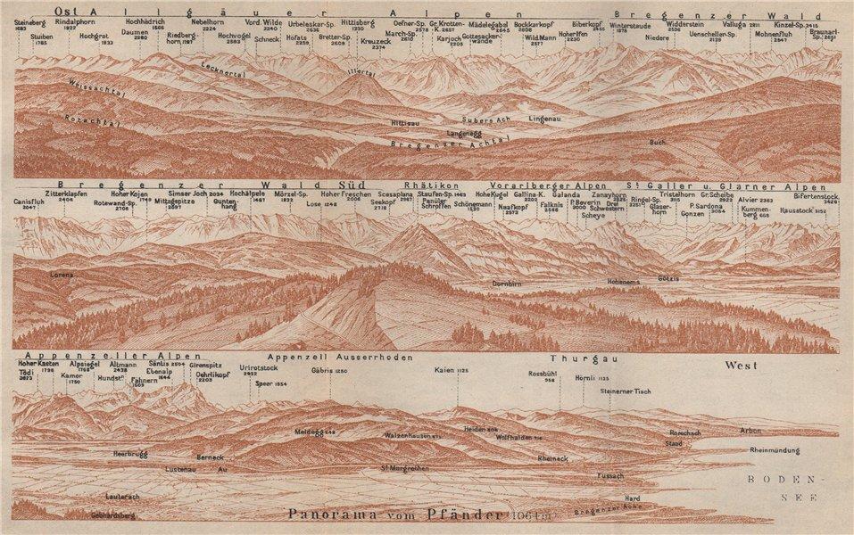 Associate Product PANORAMA from/vom PFÄNDER (1064m). Vorarlberg. Österreich. Pfander 1927 map