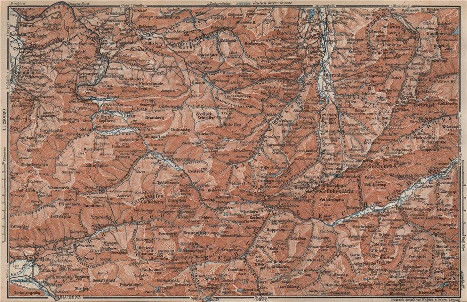 Associate Product BREGENZERWALD & ALLGÄUER ALPEN. Blundez Oberstdorf Damüls Mittelberg 1927 map