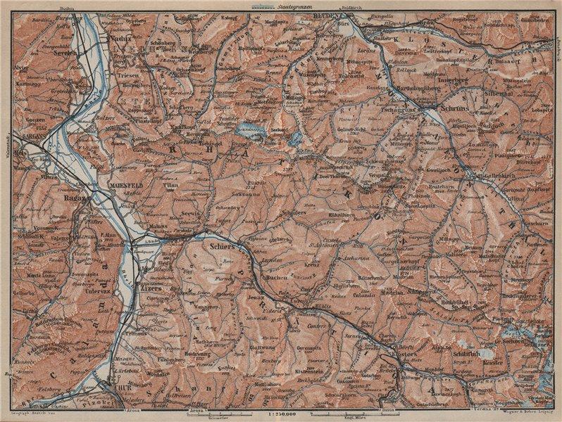Associate Product RÄTIKON. Bad Ragaz Montafon Prättigau Klosters Blundenz Schruns Chur 1927 map