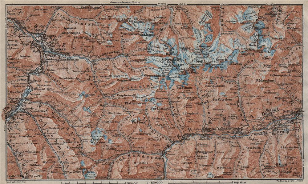 Associate Product SILVRETTA GROUP. Klosters Davos Ftan Scuol Fluchthorn Lower Engadin 1927 map