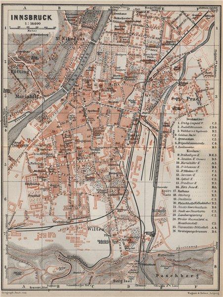 Associate Product INNSBRUCK vintage town city plan stadtplan. Austria Österreich karte 1927 map