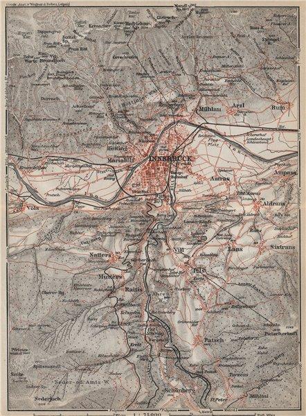 Associate Product INNSBRUCK ENVIRONS Umgebung. Thaur Gotzens Igls. Austria Österreich 1927 map