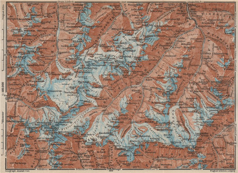 Associate Product UPPER ÖTZTAL Solden Obergurgl Wildspitze Tyrol Tirol topo-map. Austria 1927