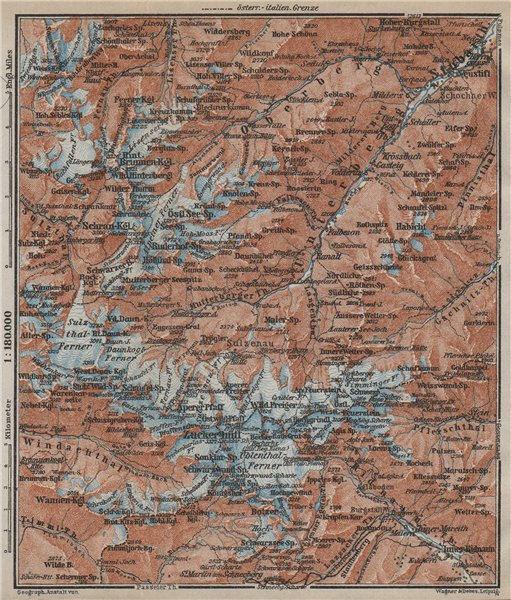 Associate Product STUBAI ALPS Stubaier Alpen. Neustift im Stubaital Tirol Tyrol topo-map 1927