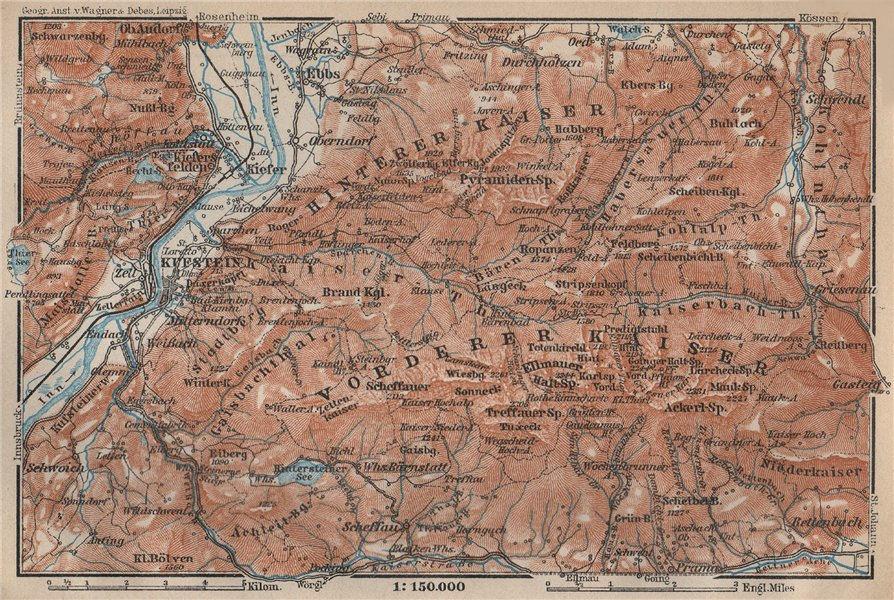 Associate Product KUFSTEIN environs. Kaisergebirge. Zahmer/Wilder Kaiser Tirol Tyrol 1927 map
