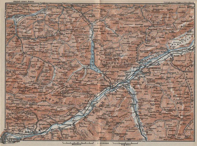 Associate Product Tiroler Unterland. Unterinntal. Inn valley. Innsbruck Tyrol Jenbach 1927 map