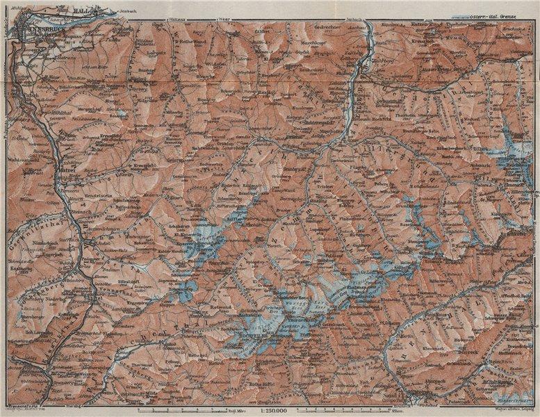 Associate Product ZILLERTALER ALPEN ALPS. Mayrhofen Matrei Steinach. Tyrol/Südtirol 1927 old map