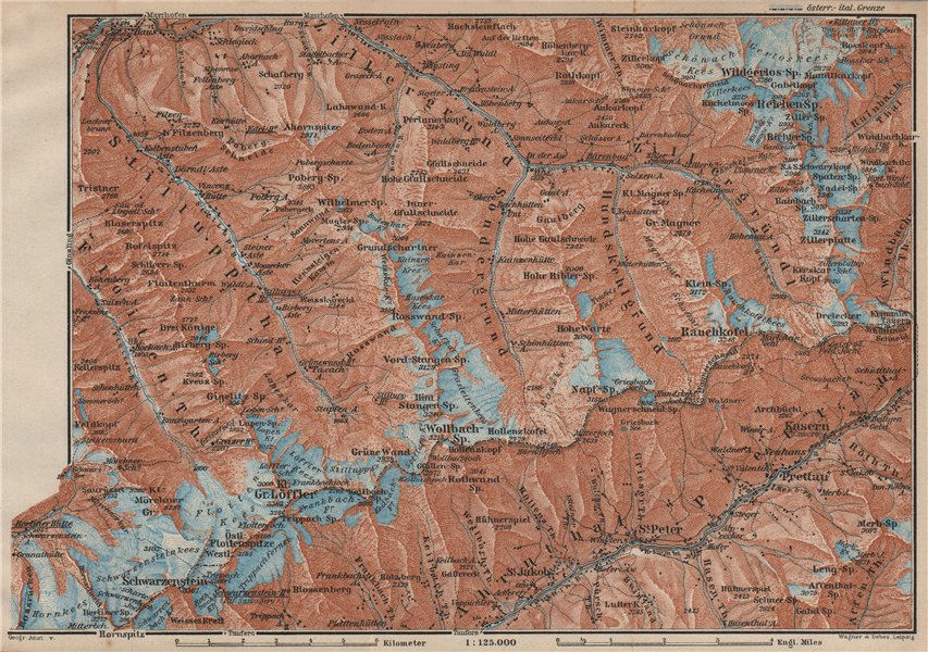 Associate Product EASTERN ZILLERTAL. Ahrntal Valle Aurina Prettau Schwarzenstein Südtirol 1927 map