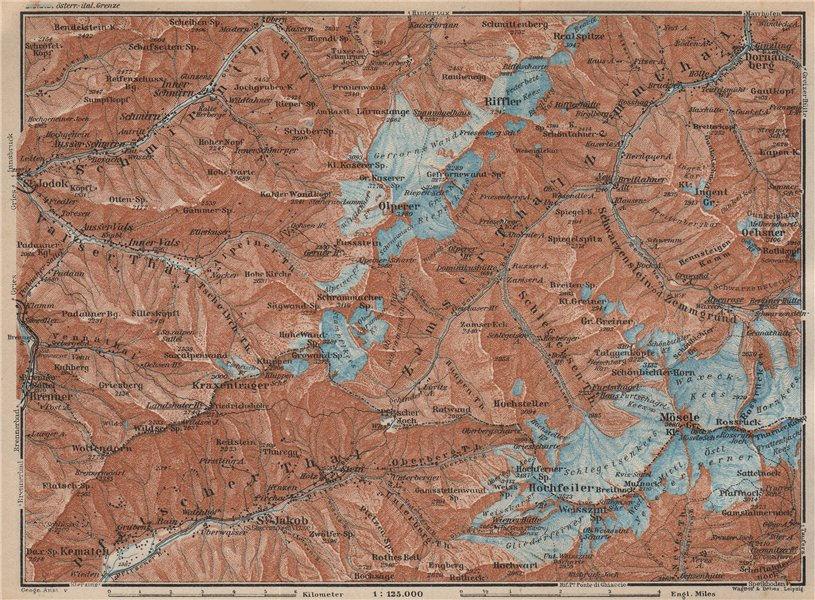 Associate Product WESTERN ZILLERTAL Pfitscher Tal St Jodok Olperer Zillertaler Alpe 1927 old map