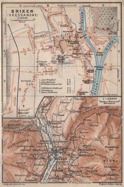 BRIXEN / BRESSANONE town city plan & environs. Südtirol Italy Italia 1927 map