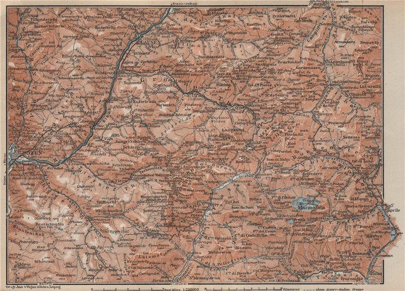 Associate Product VAL GARDENA/GRÖDEN. Bozen/Bolzano Schlern-Rosengarten Südtirol Klausen 1927 map