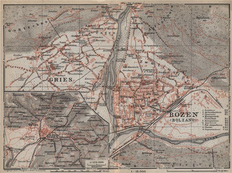 Associate Product BOLZANO (BOZEN) environs. Gries. town city plan. Italy mappa. BAEDEKER 1927