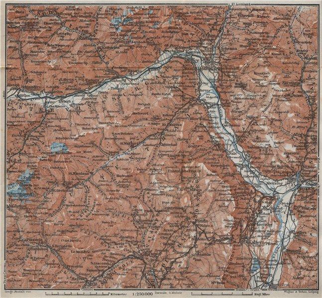 Associate Product VINTSCHGAU ADIGE/ETSCH Ultental valleys. Bozen/Bolzano Merano Südtirol 1927 map