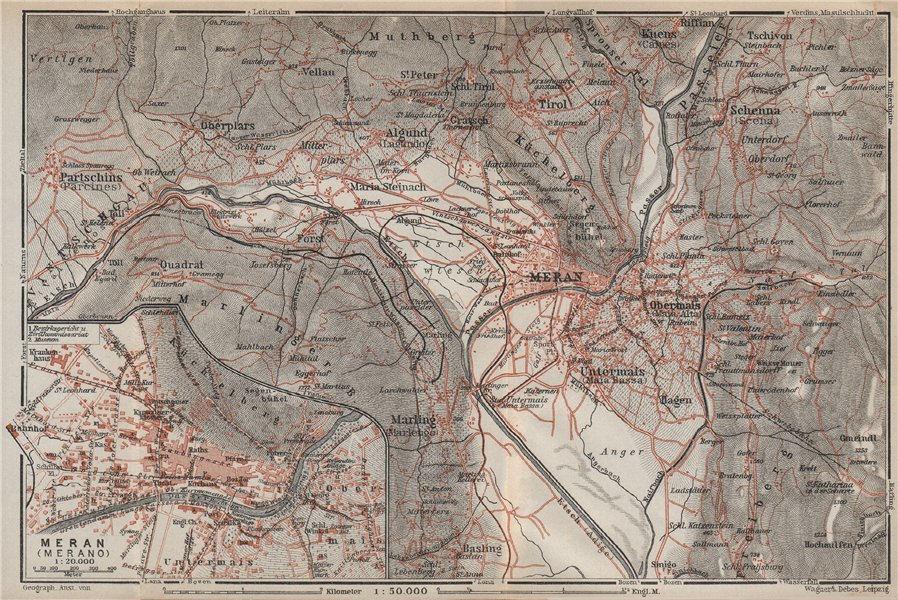 MERANO / MERAN environs Scena Plars di Sopra Marlengo Lagundo Parcines 1927 map