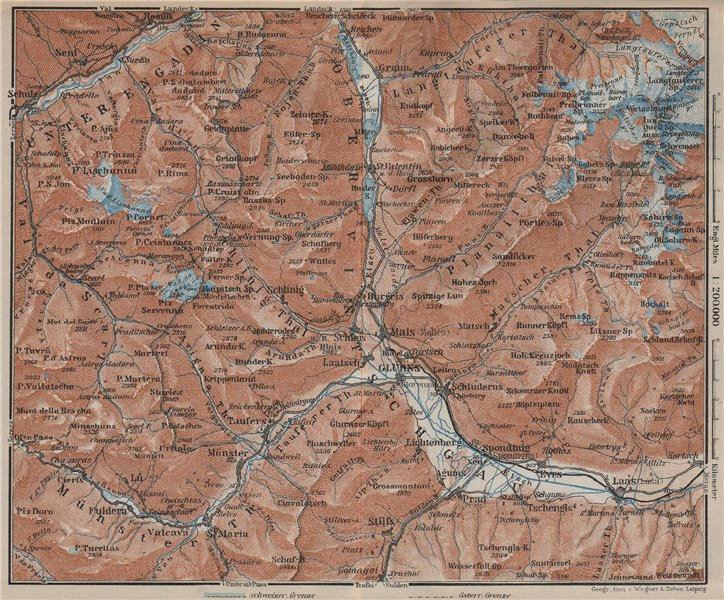 Associate Product UPPER/OBERVINTSCHGAU. Val Venosta. Glurns Glorenza Laas Graun Südtirol 1927 map