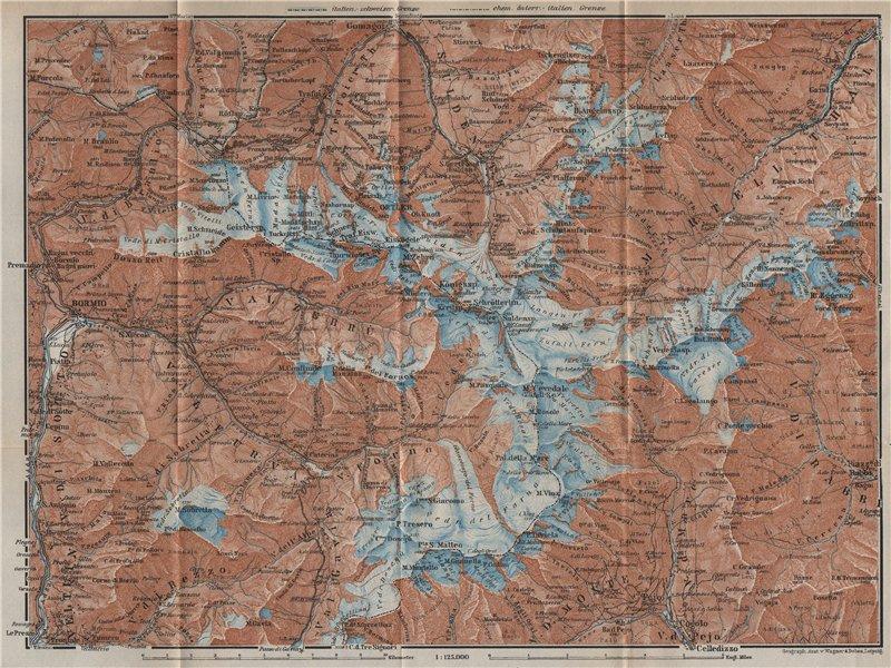 Associate Product ORTLER ALPS. Ortler Alpen Ortles-Cevedale Bormio Solda Santa Caterina 1927 map