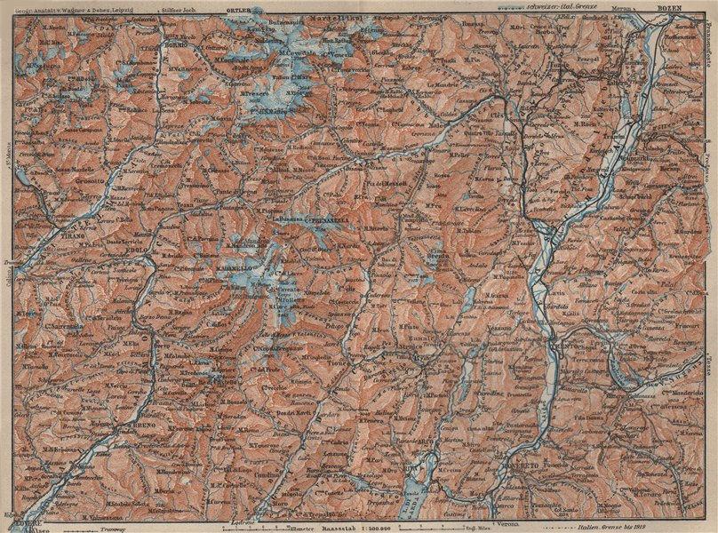 Associate Product ADAMELLO BRENTA. ORTLER ALPEN. Dolomiti. Bolzano Tirano Bormio Trento 1927 map