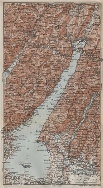 Associate Product LAGO DI/LAKE GUARDA. Riva Salo Gargnano Bardolino. Topo-map. Italy 1927