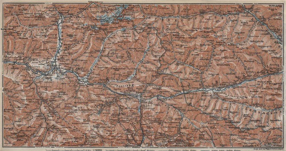 Associate Product PUSTERTAL Bruneck Fanes-Sennes-Braies Tre Cime Rieserferner-Ahrn Sesto 1927 map