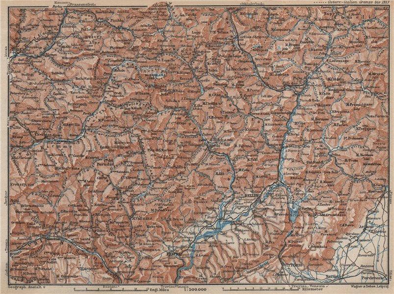 Associate Product DOLOMITE ALPS DOLOMITI Bolzano Belluno Val Gardena Cortina d'Ampezzo 1927 map