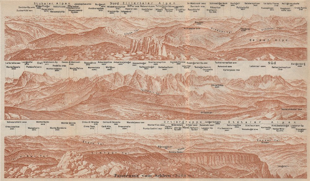 Associate Product PANORAMA from/vom SCHLERN/SCILIAR. Südtirol Alto Adige Italy Italia 1927 map
