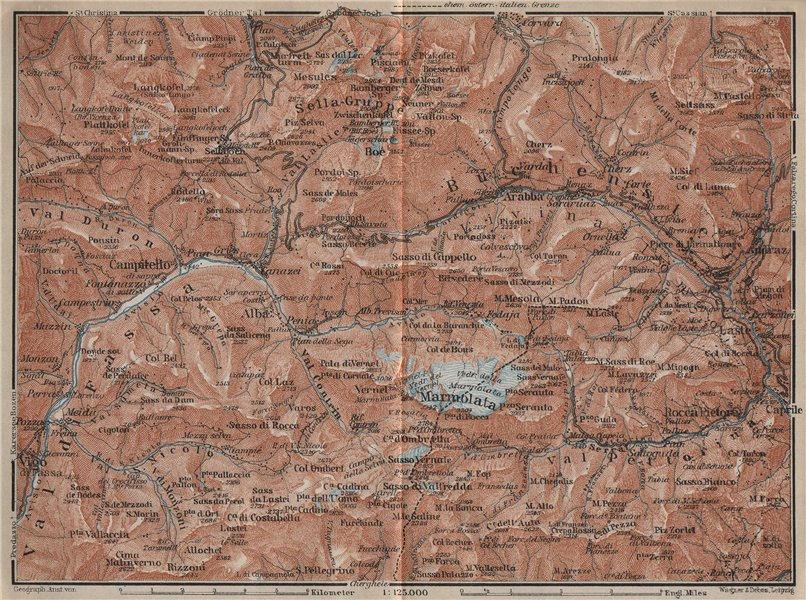 Associate Product LADIN VALLEYS. Marmolada Arabba/Rèba Fascia Fodóm Mëisules Ciampedèl 1927 map