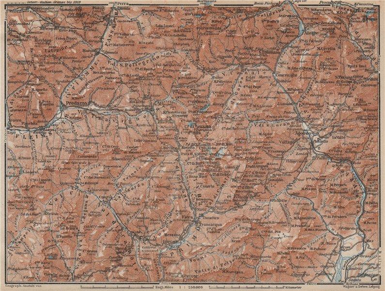 Associate Product DOLOMITI. Primiero Paneveggio. San Pellegrino San Martin di Castrozza 1927 map