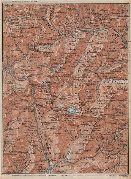 Associate Product SAN MARTINO DI CASTROZZA. Paneveggio Trentino Fiero di Primero Gosaldo 1927 map