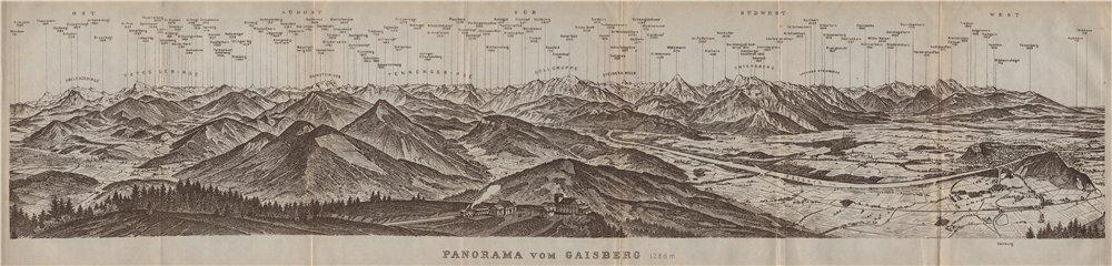 Associate Product PANORAMA VOM GAISBERG. Salzburg. Salzach valley. Austria Österreich 1927 map