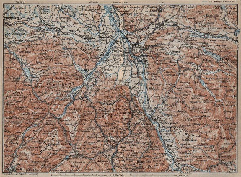 Associate Product SALZBURG environs. Berchtesgaden Faistenau Seekirchen Reichenhall 1927 old map