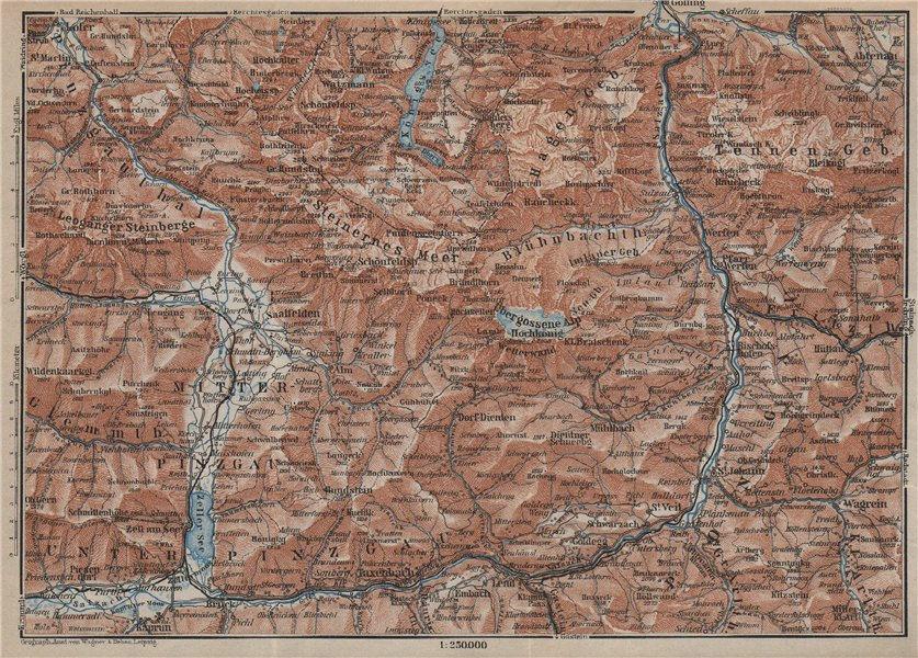 BERCHTESGADENER ALPEN Pinzgau Pongau Taxenback Königssee Zell am See 1927 map