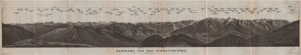 Associate Product PANORAMA from/vom SCHMITTENHÖHE. Kitzbühler Alpen Tirol Österreich 1927 map
