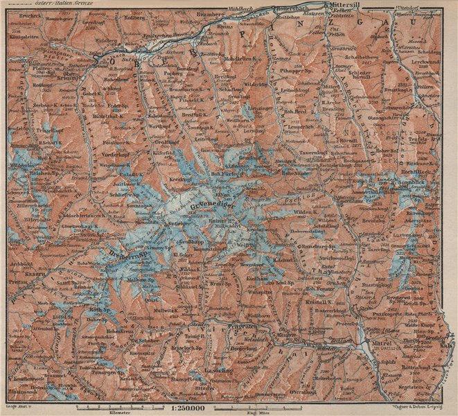 Associate Product VENEDIGERGRUPPE. OBERPINZGAU. HOHE TAUERN. Mittersill Prägraten  karte 1927 map
